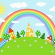 Stock Vector: Baby landscape. Rainbow.