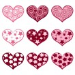 9 hearts. Set valentine`s simbols. — Stock Vector
