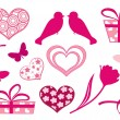 Set design elements of valentine`s day. - Stock Vector