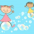 Children fly on soap bubbles — Stock Vector