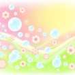 Air background with soap bubbles. — Stock Vector