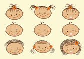 Laughing children's faces. Set. — Stock Vector