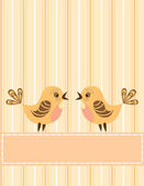 Singing birds. Greeting card. — Stock Vector