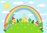 Baby landscape. Rainbow. — Stock Vector