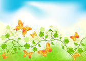 Floral background with butterfly. — Stock Vector