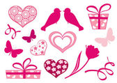 Set design elements of valentine`s day. — Stock Vector