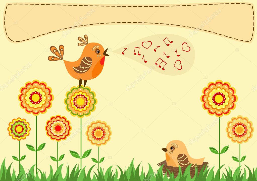 Singing bird greeting card stock illustration