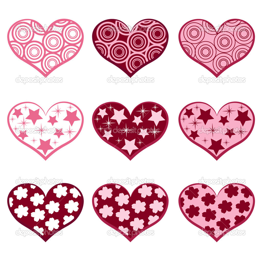9 hearts. Set valentine`s simbols. Vector illustration. — Stock Vector #2212513