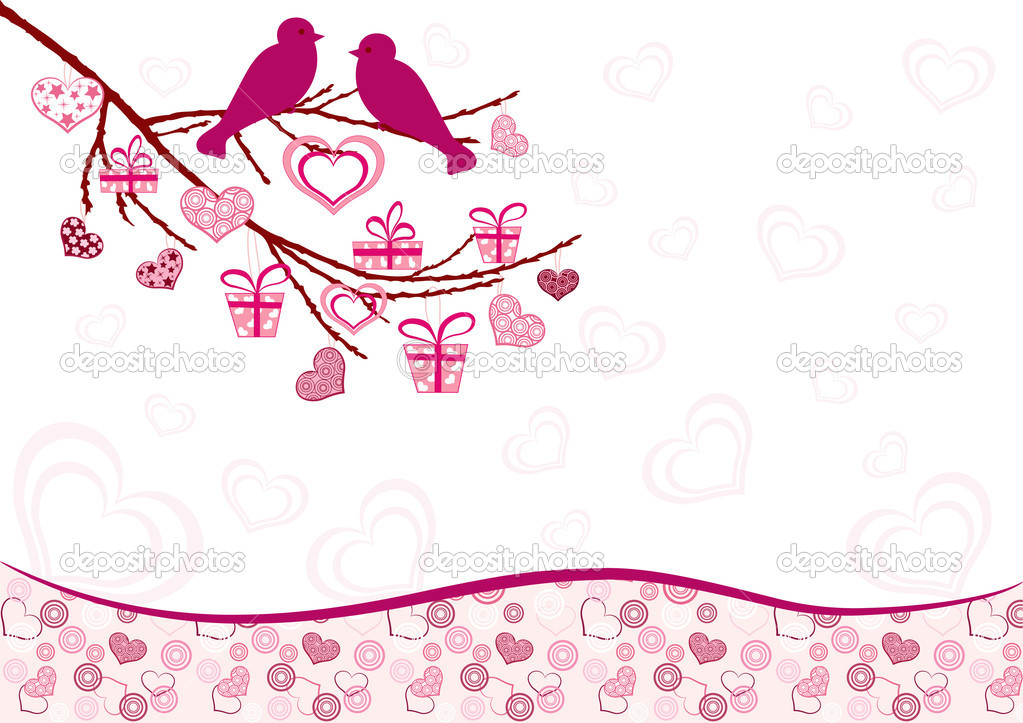 Valentine`s card with birds. Vector illustration. — Stock Vector #2213043