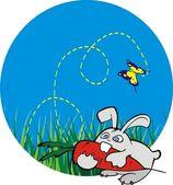 ładny królik z marchwi — Wektor stockowy