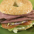 Pastrami bagel sandwich — Stock Photo