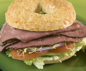 Pastrami bagel sandwich — Photo