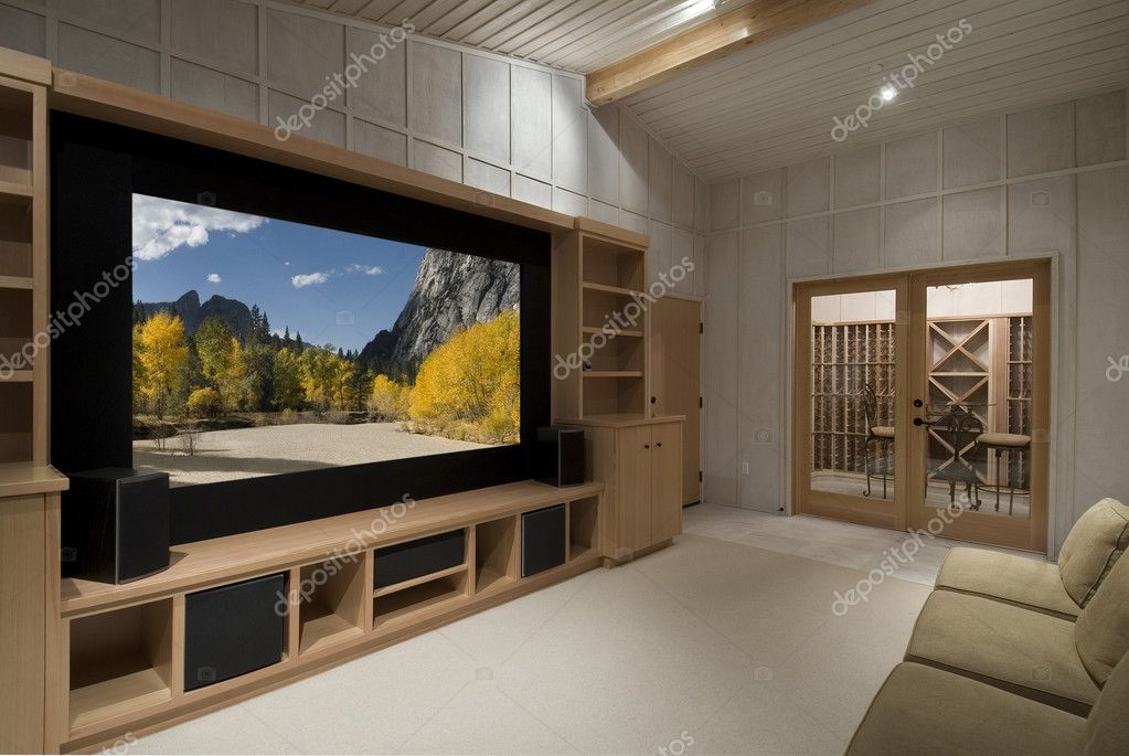 Home theater with wine tasting room, big screen, wood cabinets,photo on screen is one of my shots from yosemite — Photo #2107710