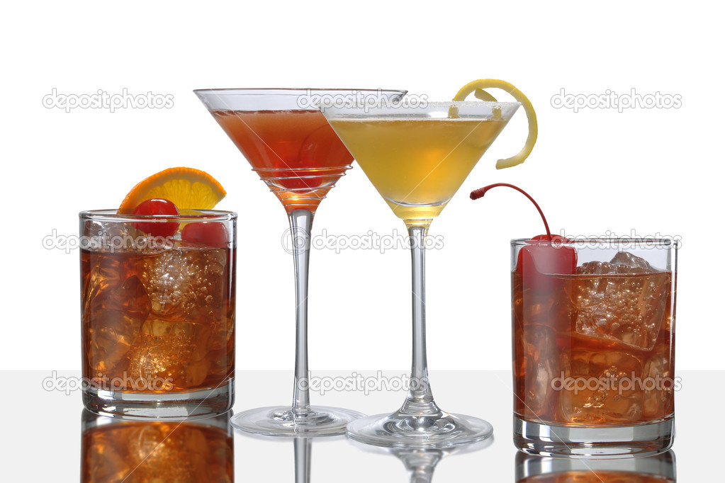Colorful cocktail drinks, two Manhattans, and Old Fahion and a Side Car — Stock Photo #2206630