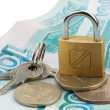 Money locked on lock — Stock Photo #2089995