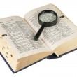 Revealling book with magnifying glass — Stock Photo #2120172