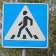 Traffic sign a pedestrian crossing - Stock Photo