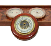 Antique barometer and dials — Stock Photo