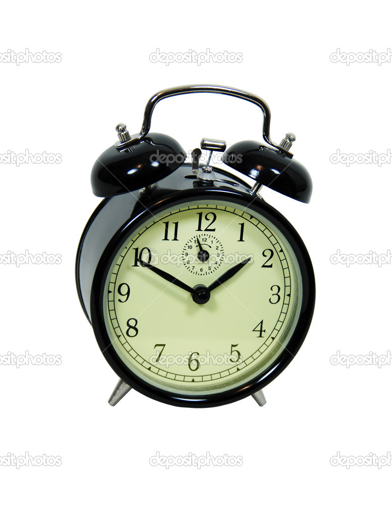 Measuring time passing with a manual alarm clock with bell ringers-Path included — Stock Photo #2129187