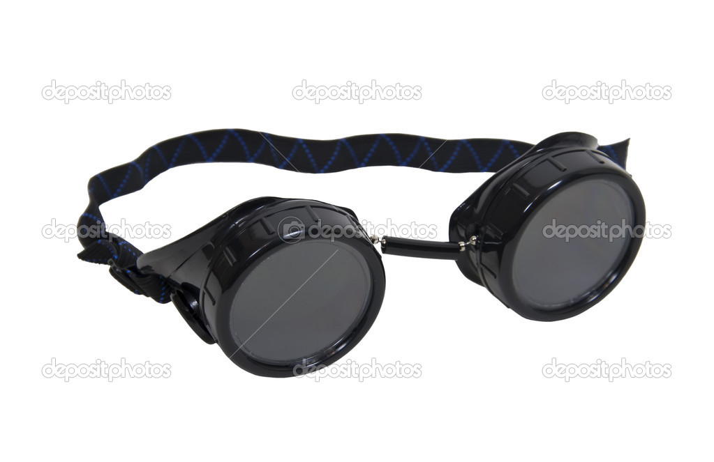Black goggles used for eye protection and fashion statement - path included — Stock Photo #2129529