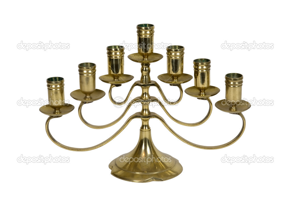 Brass candelabra ready to hold several candles at a time for efficient lighting - path included — Stock Photo #2129740