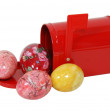 Red Mailbox and colored eggs — Stock Photo
