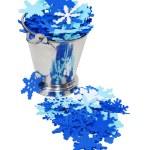 Snow flake filled ice bucket — Stock Photo