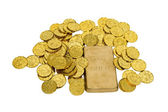 Gold Coins and Bar — Stock Photo