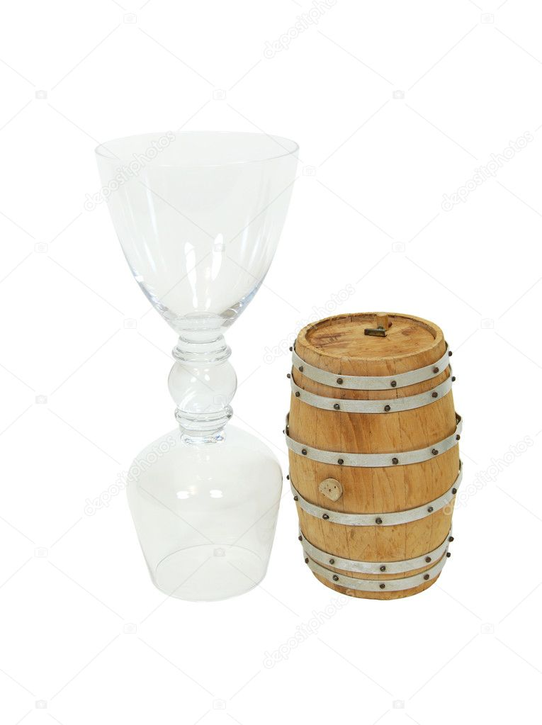 Double drinking glass which holds a wine and brandy snifter at each end and an oak barrel that can hold either — Stock Photo #2130192