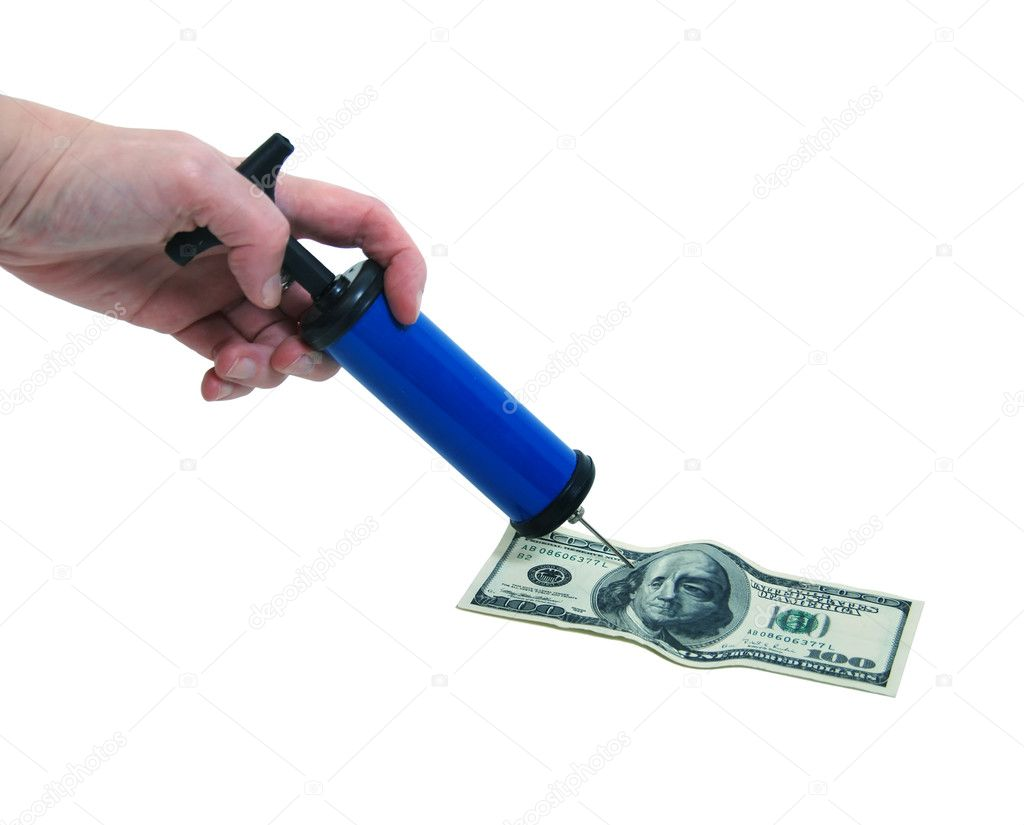 Handheld injector with plunger on a high monetary bill blowing up the value beyond recognition  Stock Photo #2131251