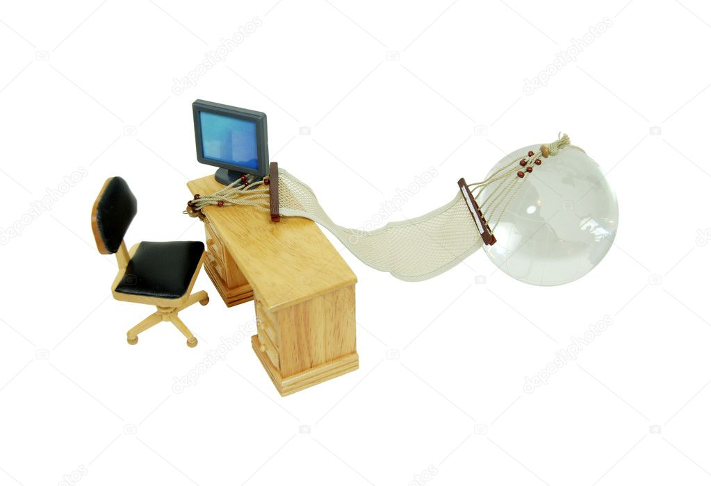 Desk and office items where ideas come to life, and a hammock connecting to a crystal globe — Stock Photo #2131385