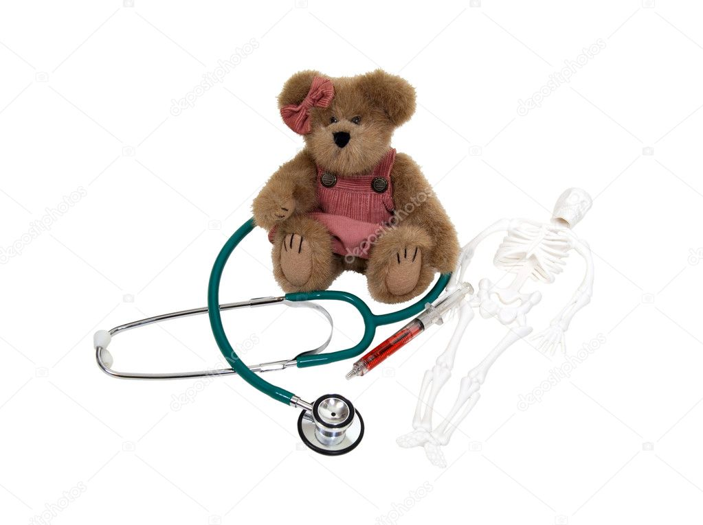 Pediatric medical care shown by medical items with a teddy bear - path included — Stock Photo #2131511