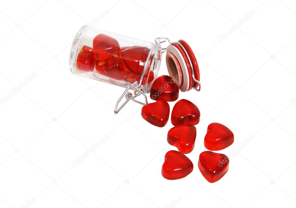 Portions of love shown by a glass spice jar with lockable top filled with hearts - path included — Stock Photo #2131650