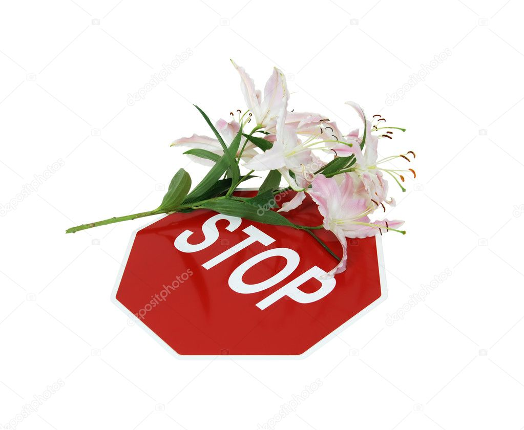Lily covered stop sign is a traditional safety and cautionary measure so that every shares the road - path included — Stock Photo #2132246
