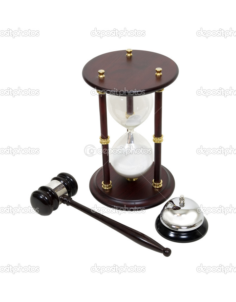 Time for legal services shown by hour glass, gavel and service bell - path included  Stock Photo #2132562