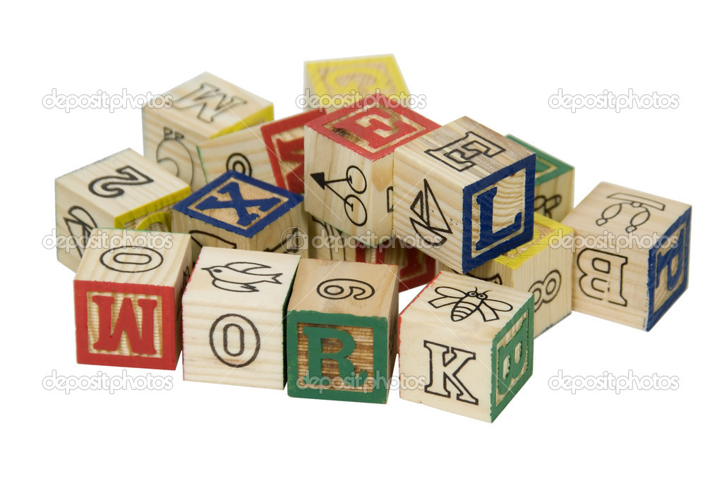 Wooden blocks toys with drawings and letters that can be combined together to form words-Path included — Stock Photo #2133293