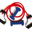 Stock Photo: Red Resistance Band & Weights