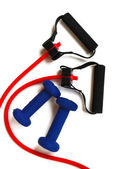 Red Resistance Band & Weights — Stock Photo
