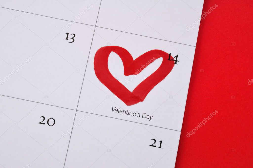 February 14th with heart drawn on calendar — Stock Photo #2159178