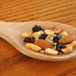 Trail Mix on Wooden Spoon — Stock Photo