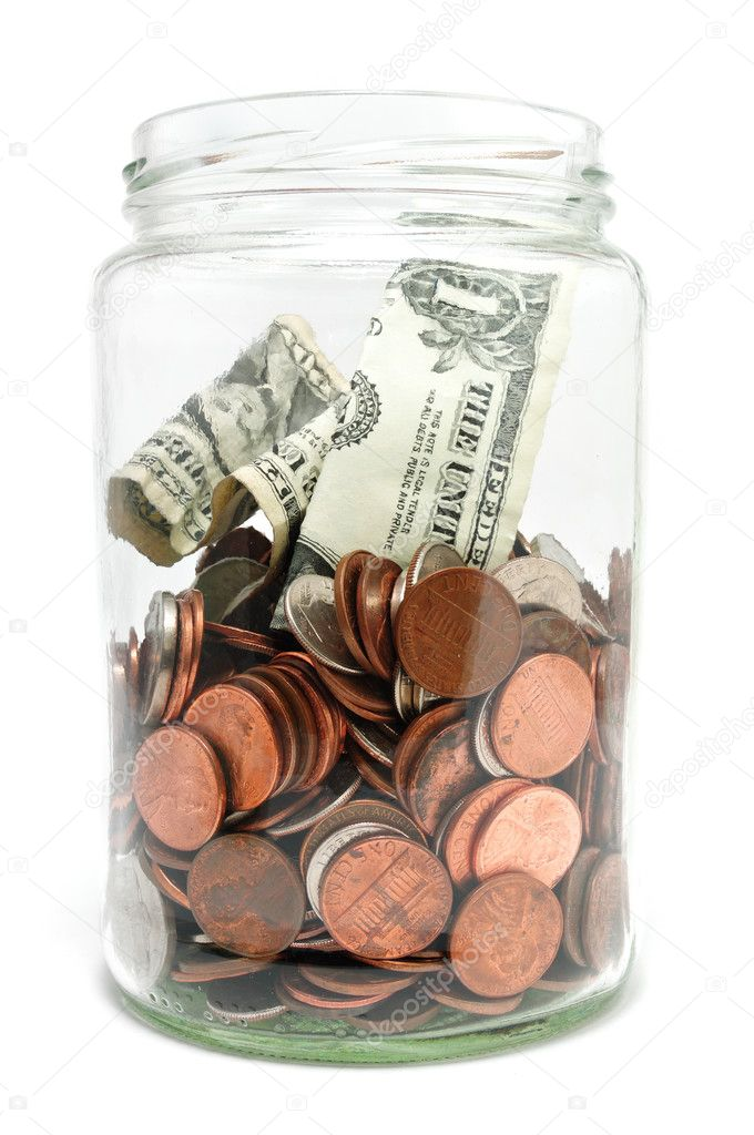 Jar of Money Isolated on a White Background — Stock Photo #2166981