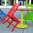 Red, Green, and Blue Chairs — Stock Photo
