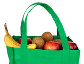 Groceries in Reusable Green Bag — Stok fotoğraf