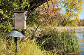 Wood Duck Box by Pond — Stock Photo