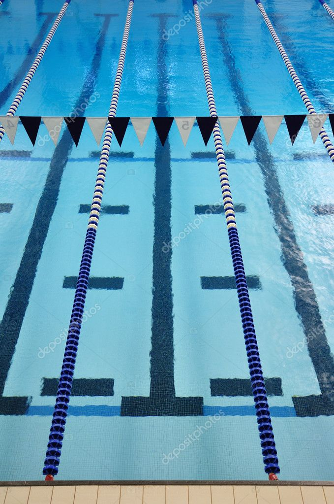 Indoor Swimming Pool with Lane Lines and Backstroke Flags  Stock Photo #2178219