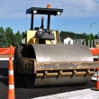 Steamroller at Road Construction Site — Stock Photo