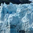 Stock Photo: Boat & Massive Margerie Glacier