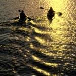 Man and Woman Kayaking at Sunset — Stock Photo