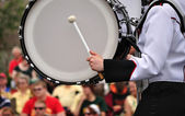 Drummer Playing Bass Drum in Parade — Stock Photo