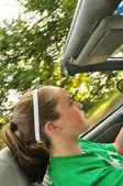 Teen Girl Driving a Convertible Car — Stock Photo
